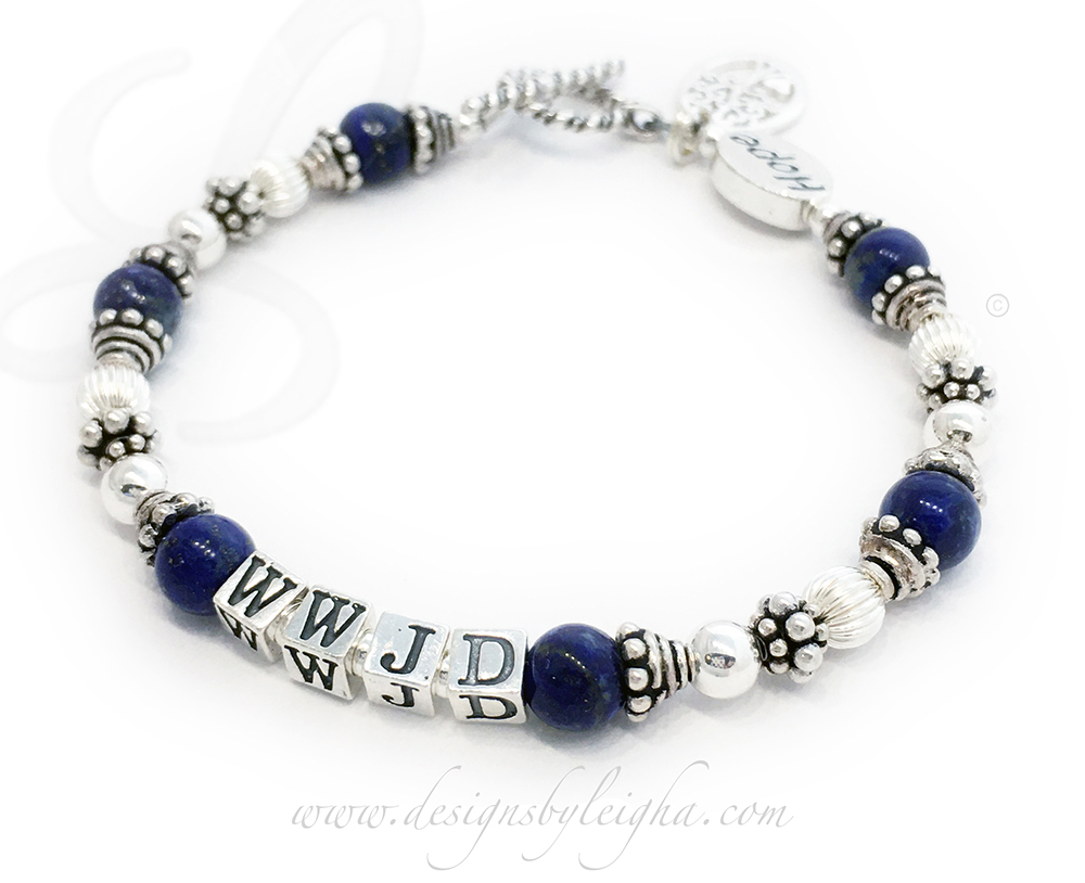 Lapis Lazuli What Would Jesus Do Bracelet - Shown with a Twisted Toggle clasp, 4.5mm block letters and 2 add-ons:Tree of Life charm and a HOPE Message Bead