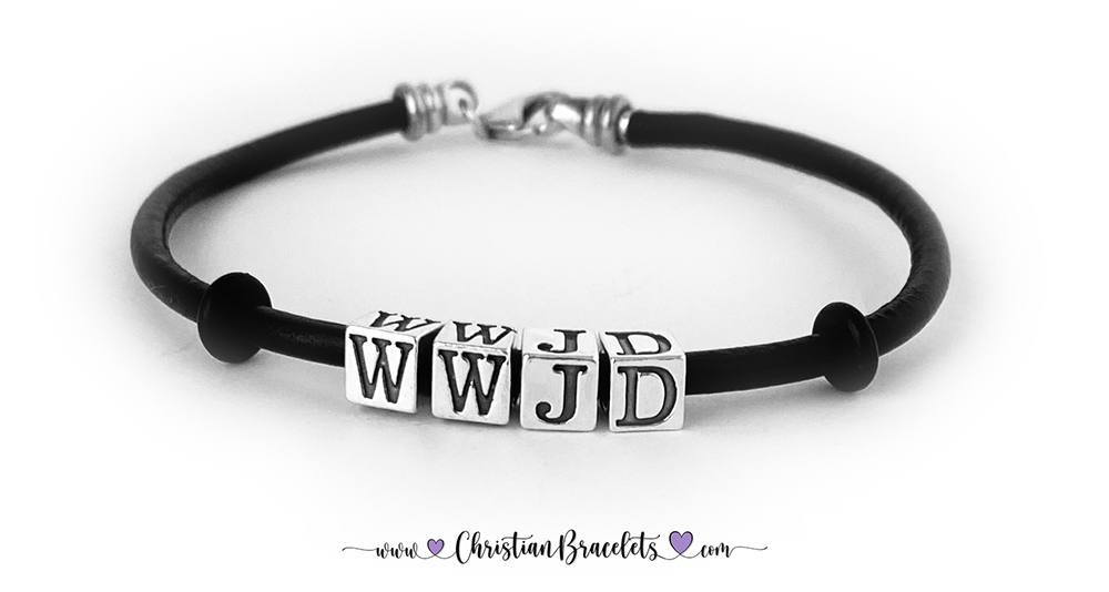 "DBL-DB-WWJD-4  This is a 7 1/2"" Black Leather and Sterling Silver WWJD Bracelet WITHOUT Spacers."