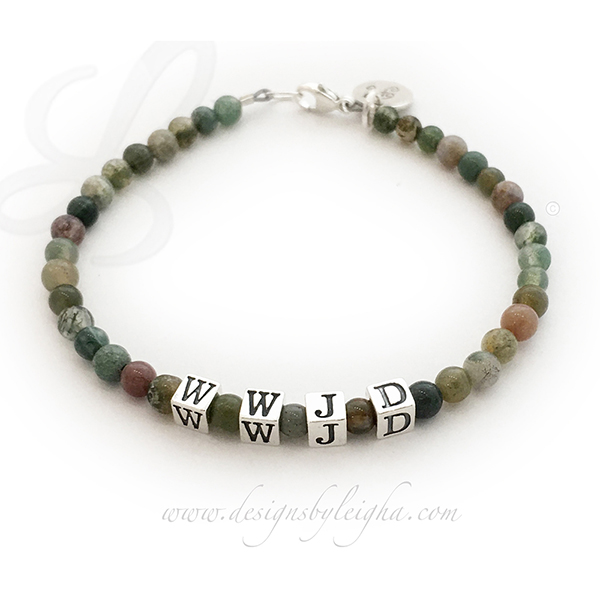 Fancy Jasper WWJD Bracelet  This 4mm Fancy Jasper Gemstone Beaded WWJD Bracelet is shown with a sterling silver lobster claw clasp and 1 add-on: Initial Charm.