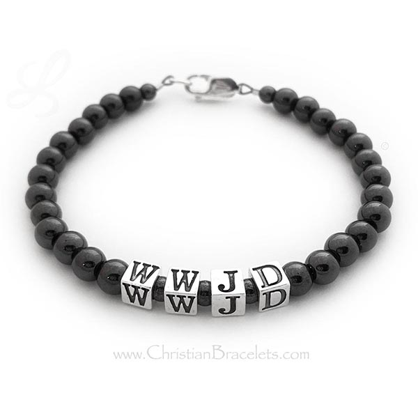 WWJD Hematite and Sterling Silver Simple Bracelet - WWJD-3 hematite