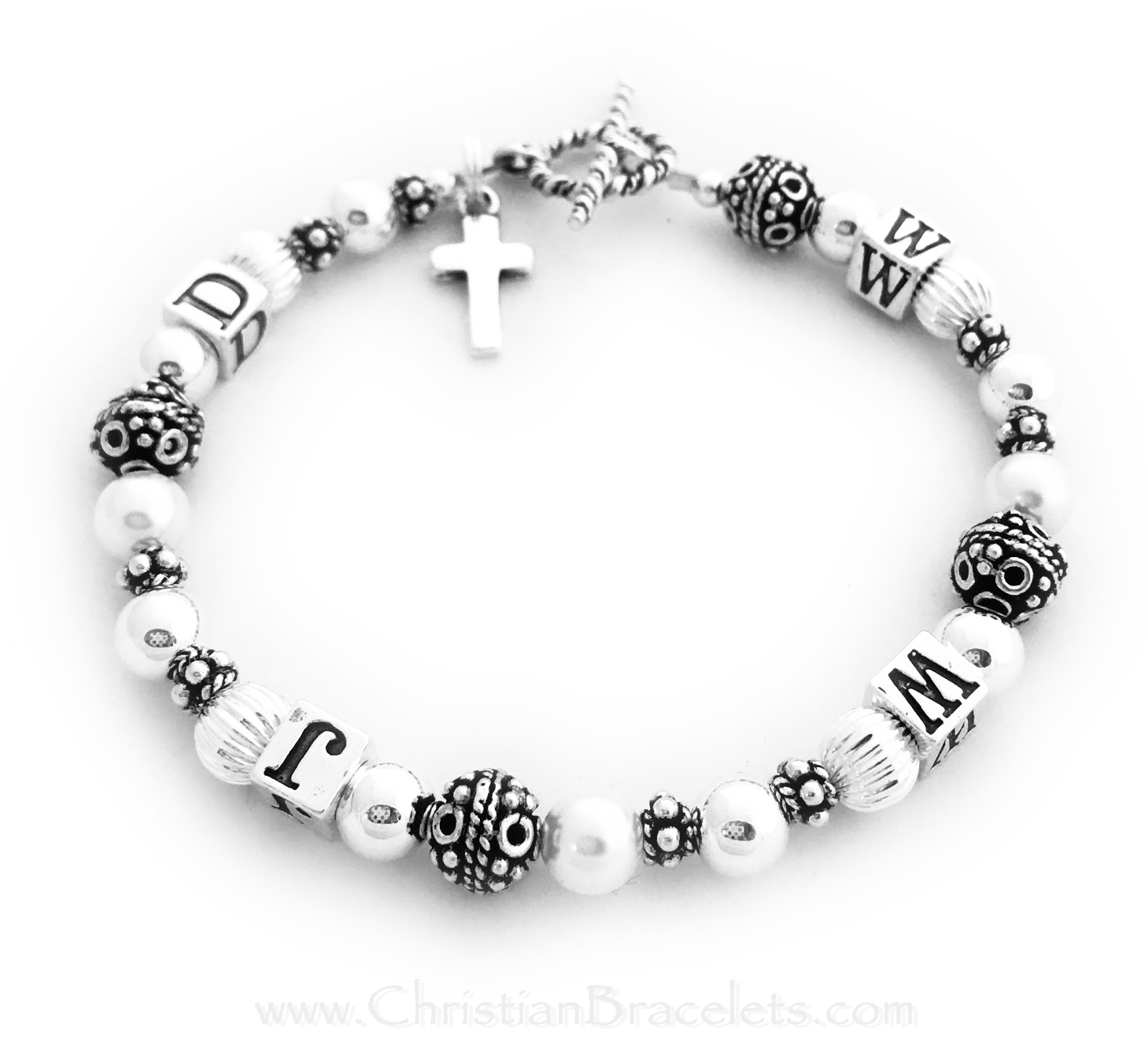 "What Would Jesus Do Bracelet with a Twisted Toggle clasp and an add-on charm: ""Simple Cross"" charm."
