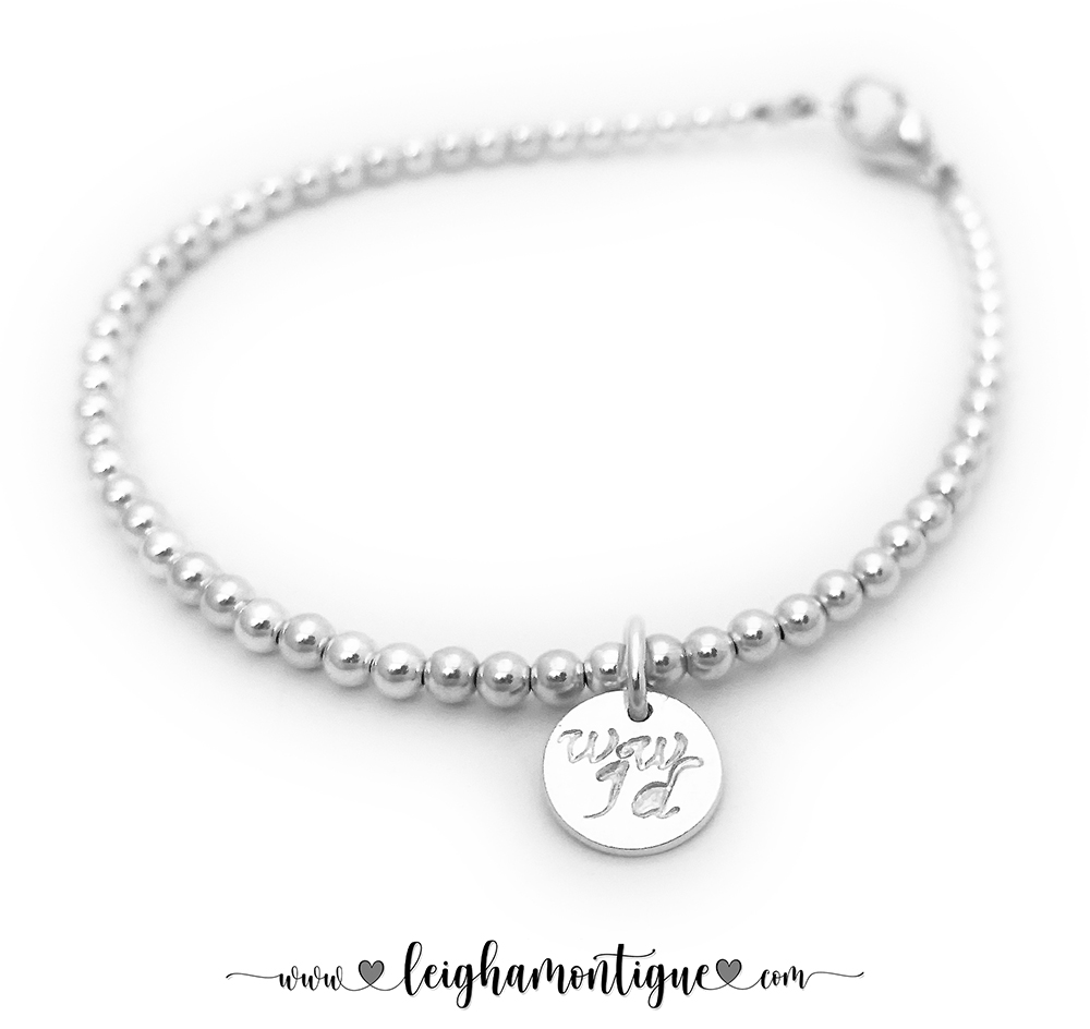 DBL-WWJD-13-Sterling  This is a WWJD - What Would Jesus Do - .925 sterling silver bracelet. The charm is also .925 sterling silver. The charm is hand-stamped with WWJD with the classic font. See more font options below...