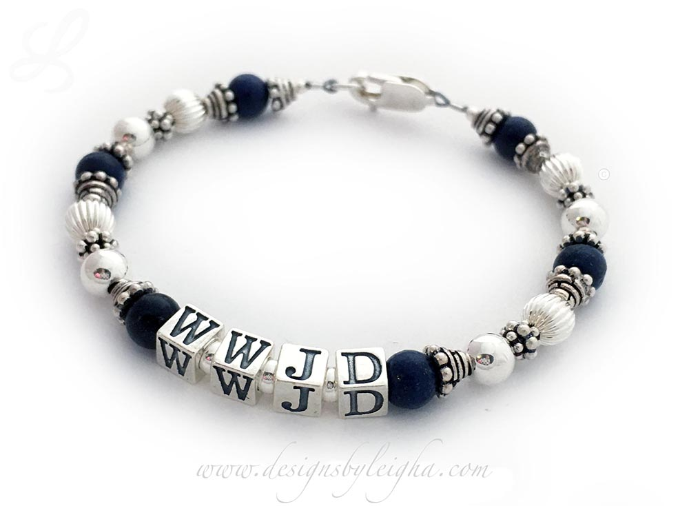 "Lapis Lazuli What Would Jesus Do Bracelet - Shown with a Lobster Claw Clasp, 5.5mm block letters. This bracelet is a 7 1/4"" WWJD Bracelet."