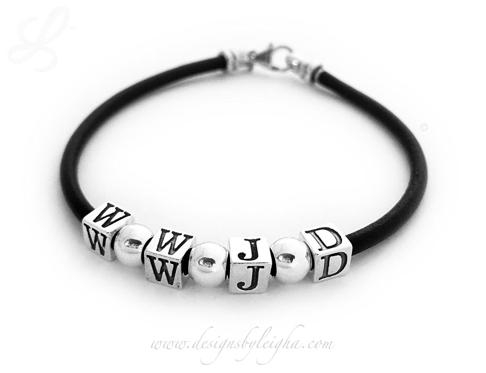 "DBL-DB-WWJD-4  This is a 7 1/2"" Black Leather and Sterling Silver WWJD Bracelet WITH 3 Spacers."