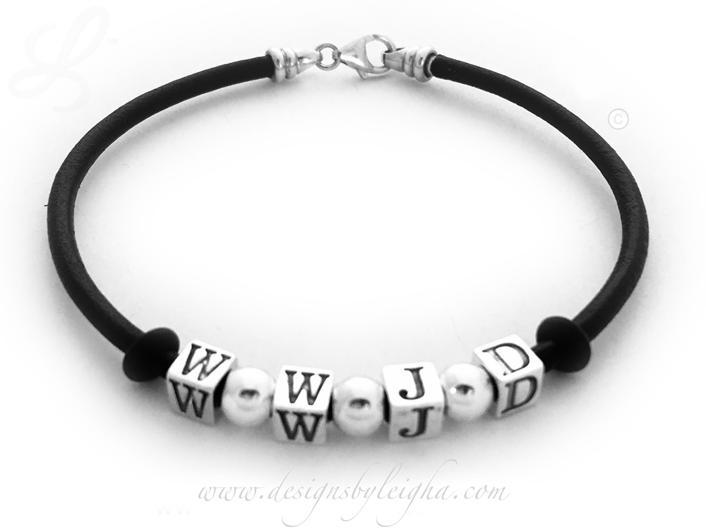 "DBL-WWJD-4  This is a 8 1/2"" Black Leather and Sterling Silver WWJD Bracelet WITH Spacers."