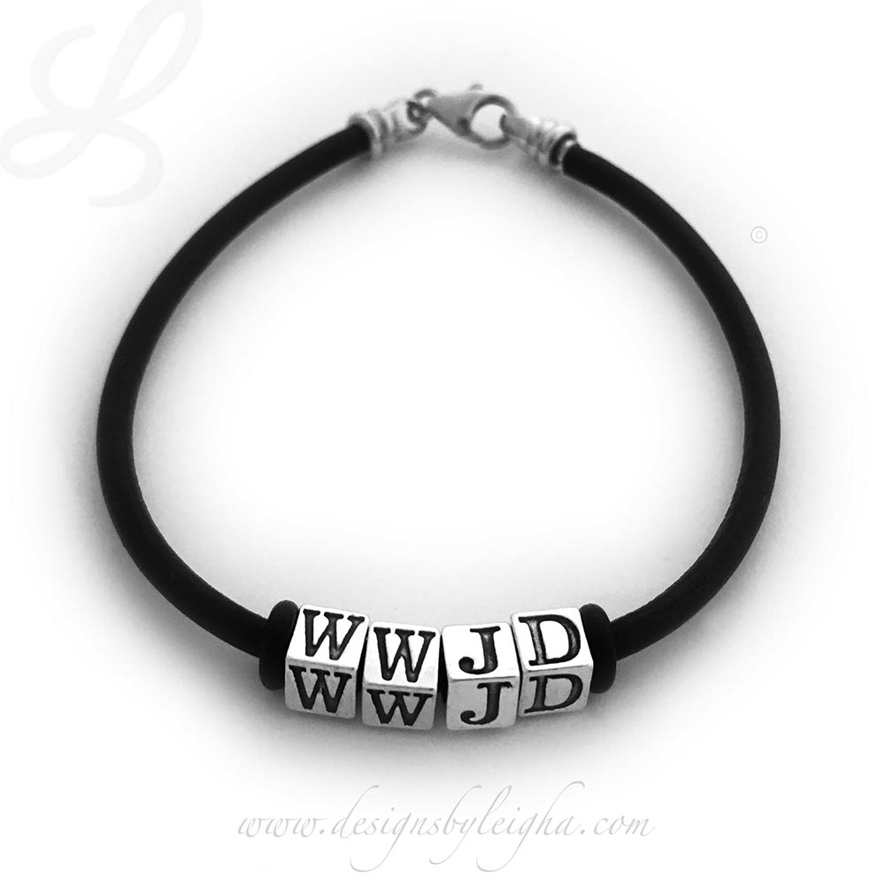 "DBL-WWJD-4  This is a 7 1/2"" Black Leather and Sterling Silver WWJD Bracelet without Spacers."