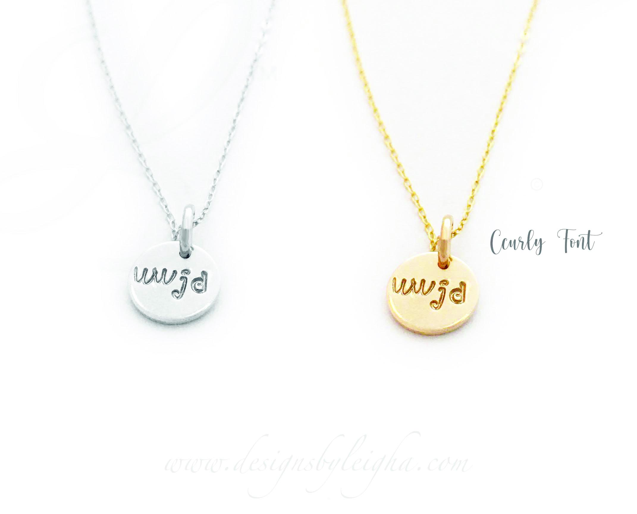 Gold WWJD Necklace with WWJD hand-stamped, with the Curly 3mm font, onto a 9mm gold or sterling silver charm / pendant.